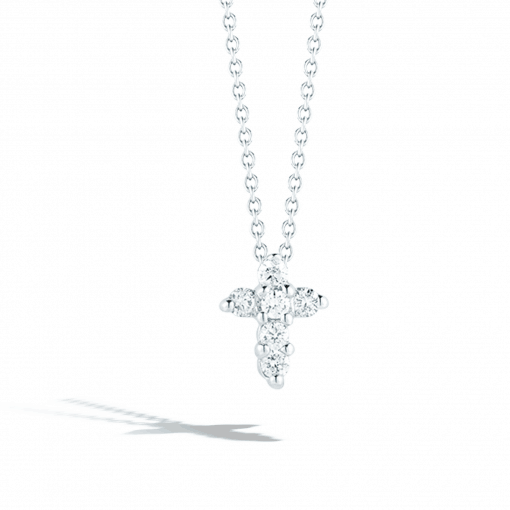 18k Baby Cross Necklace with Diamonds .11cts - Carats Jewelry and Gifts