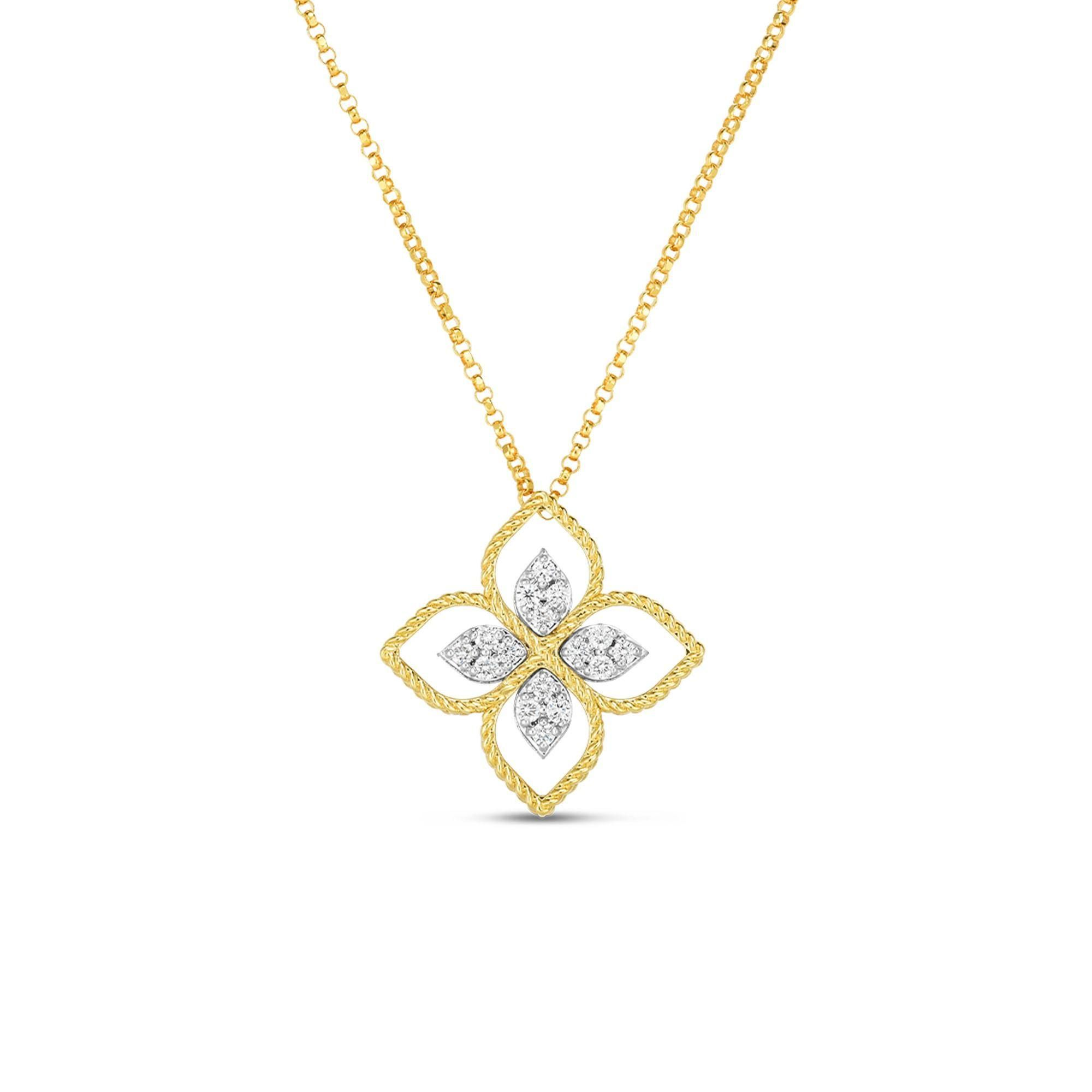 Roberto Coin Princess Flower Large Yellow Gold Diamond Pendant Necklace 1 6ctw Carats Jewelry And Gifts